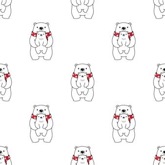 Urso de pelúcia de bebê polar sem costura padrão