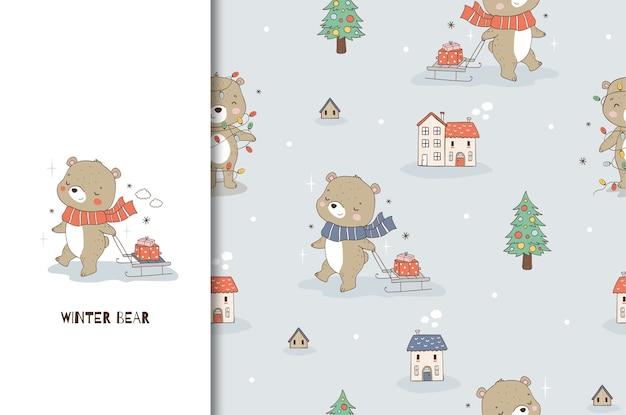 Urso de pelúcia de desenho animado e trenó com um presente