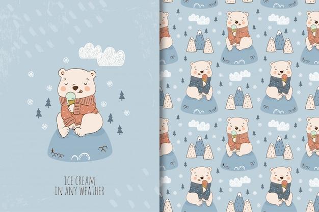 Urso de pelúcia dos desenhos animados comendo sorvete no suéter sentado na colina. ilustração e conjunto de padrões