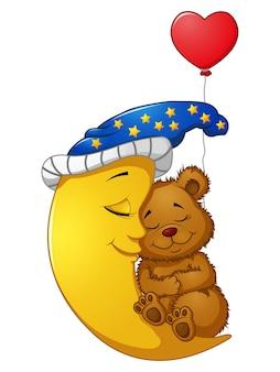 Urso de pelúcia dos desenhos animados dormir na lua