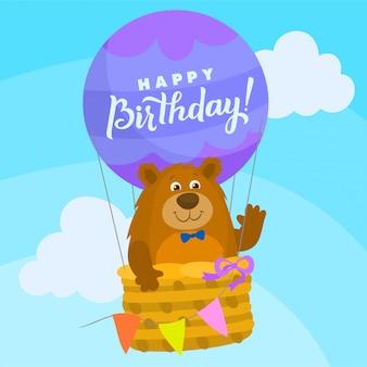 Urso de pelúcia em um balão de ar quente