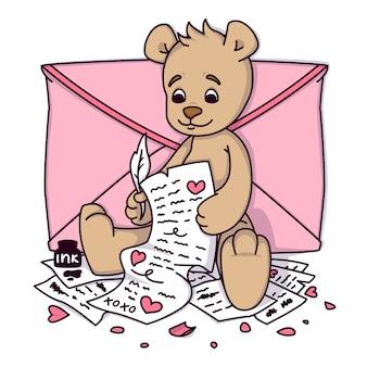 Urso de pelúcia escreve uma carta de amor. cartão de dia dos namorados com corações e envelope. imprimir para convites de crianças, cartão postal de saudações.