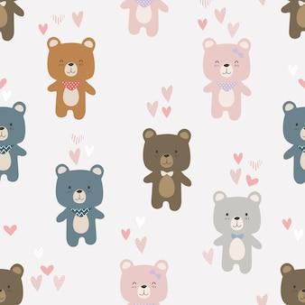 Urso de pelúcia fofo amante dos desenhos animados doodle padrão sem emenda