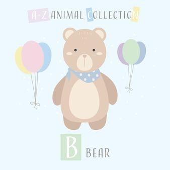 Urso de pelúcia fofo cartoon doodle alfabeto animal b