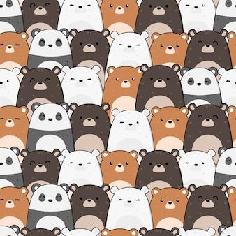 Urso de pelúcia fofo cartoon doodle padrão sem emenda