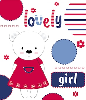 Urso de pelúcia fofo com a inscrição linda menina