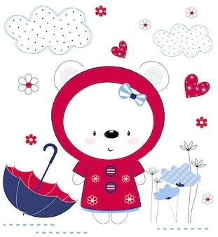 Urso de pelúcia fofo com guarda-chuva