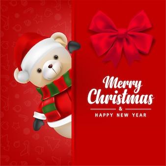 Urso de pelúcia fofo com o papai noel em um fundo vermelho para ilustração de cartão de feliz natal e feliz ano novo