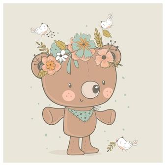 Urso de pelúcia fofo com uma coroa de flores e passarinhos. ilustração em vetor desenhada à mão