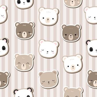 Urso de pelúcia fofo desenho doodle sem costura padrão listra