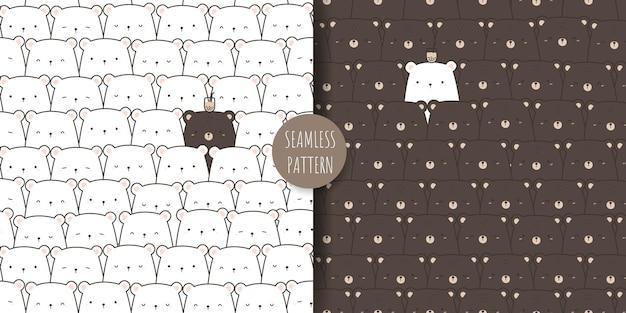 Urso de pelúcia fofo e desenho de urso polar doodle conjunto de padrões sem emenda