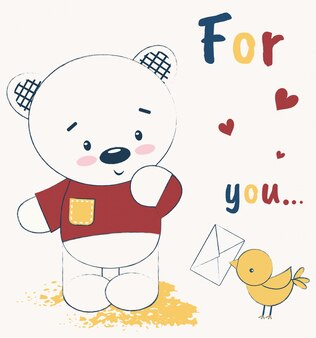 Urso de pelúcia fofo e um pássaro com uma carta