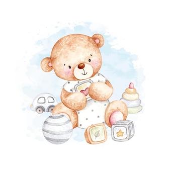 Urso de pelúcia fofo em aquarela com brinquedos