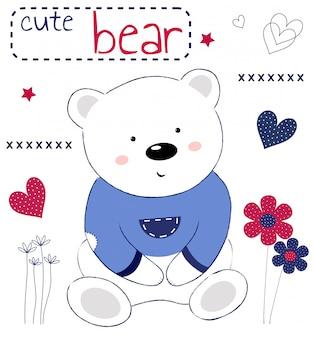 Urso de pelúcia fofo em um cartão com flores e inscrição
