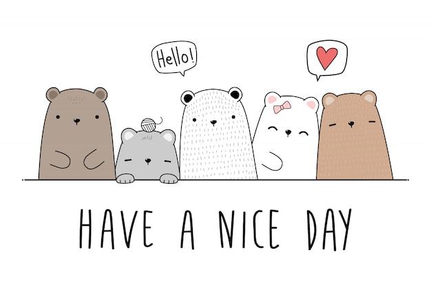 Urso de pelúcia fofo família saudação desenhos animados doodle