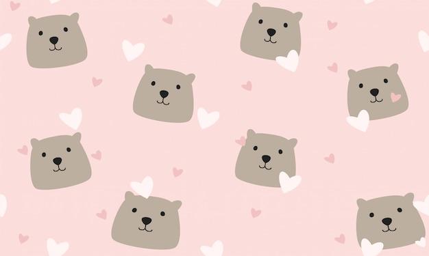 Urso de pelúcia fofo impressão padrão sem emenda para crianças