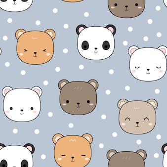 Urso de pelúcia fofo panda cartoon padrão sem emenda