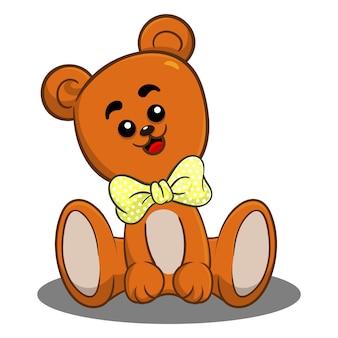 Urso de pelúcia fofo sentado dos desenhos animados