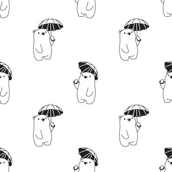 Urso de pelúcia guarda-chuva polar sem costura padrão