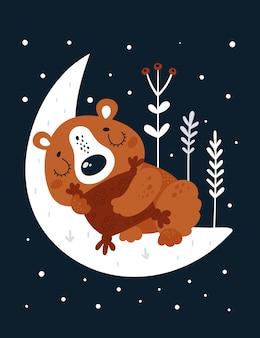 Urso de pelúcia infantil dos desenhos animados, dormindo na lua