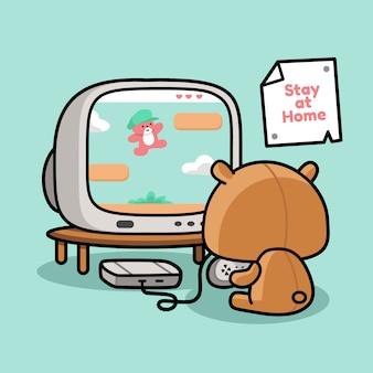 Urso de pelúcia jogando videogame
