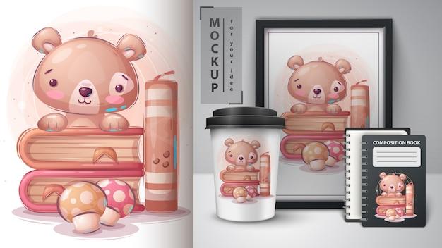 Urso de pelúcia leu pôster de livro e merchandising