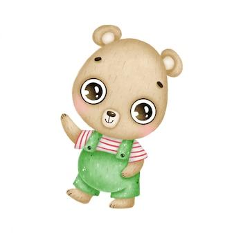 Urso de pelúcia marrom bonito dos desenhos animados em macacões verdes sorrisos e ondas