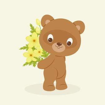 Urso de pelúcia marrom segurando um buquê de flores amarelas. ilustração de desenho animado em vetor festivo
