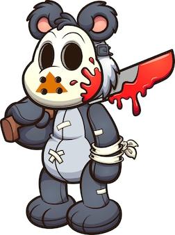 Urso de pelúcia usando uma máscara de hóquei e segurando uma ilustração de facão ensanguentada