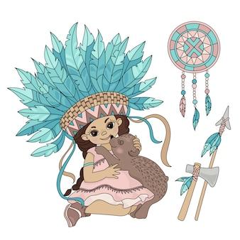 Urso de pocahontas princesa animal indiana