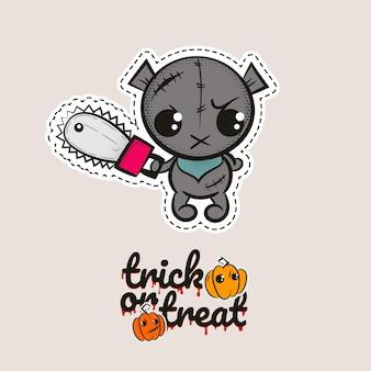 Urso de ponto de halloween boneca de vodu zumbi urso malvado que costura monstro abóboras doces ou travessuras