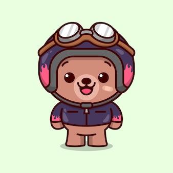 Urso de racer bonito usando capacete e casaco no estilo desenhos animados
