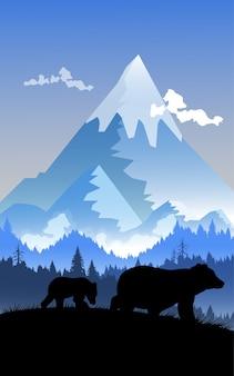 Urso de silhueta e montanha.