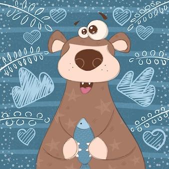 Urso de urso bonito com peixe