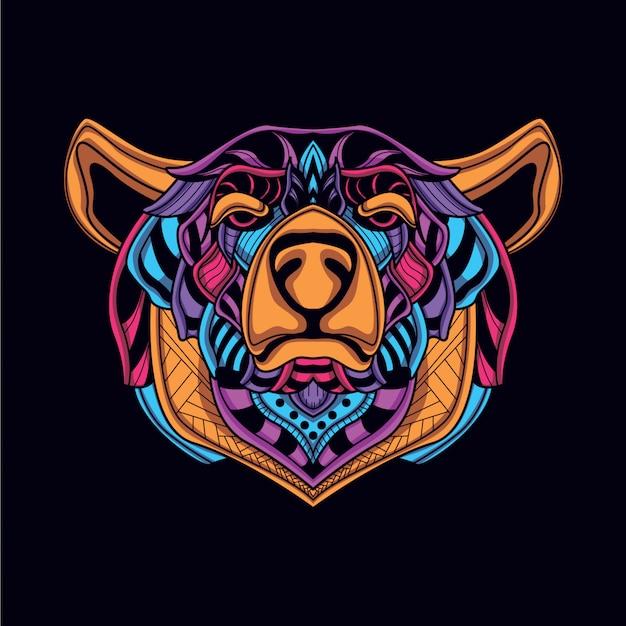 Urso decorativo abstrato na cor de néon de brilho