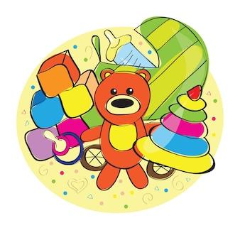 Urso desenhado à mão e outros brinquedos - ilustração vetorial
