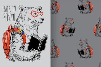 Urso desenhado de mão com padrão vector set