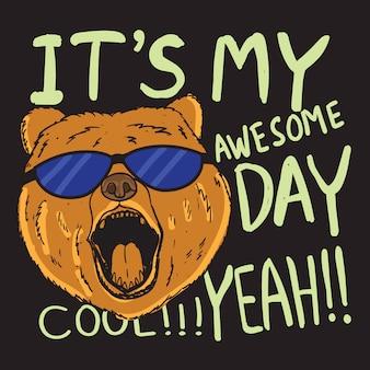 Urso desenhado mão com tipografia para camiseta