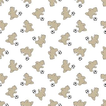 Urso desenho de personagem de futebol polar de padrão sem emenda