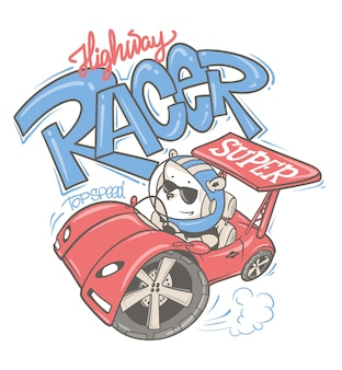 Urso dirigindo um desenho de carro desenhado à mão, para camisa de criança ou bebê.