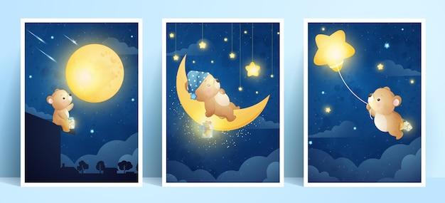 Urso doodle fofo com coleção de molduras