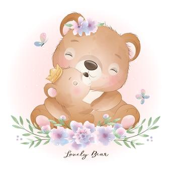 Urso doodle fofo com ilustração floral