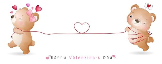 Urso doodle fofo para coleção de dia dos namorados