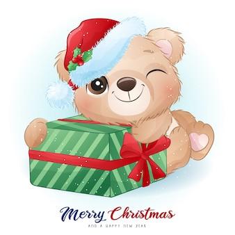 Urso doodle fofo para o dia de natal com ilustração em aquarela