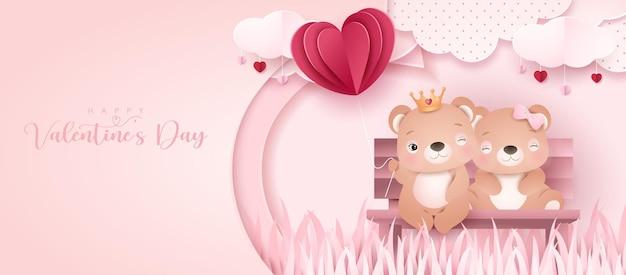 Urso doodle fofo para o dia dos namorados no banner de estilo de papel
