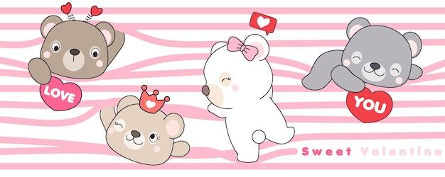 Urso doodle fofo para o dia dos namorados