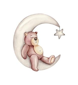Urso dormindo na lua. ilustração das crianças.