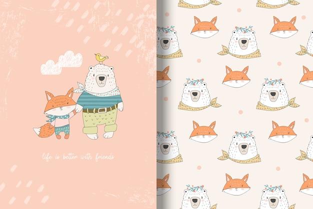 Urso dos desenhos animados com poster de melhores amigos de raposa e padrão