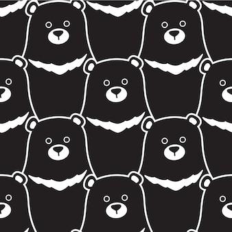 Urso dos desenhos animados de ilustração polar padrão sem emenda
