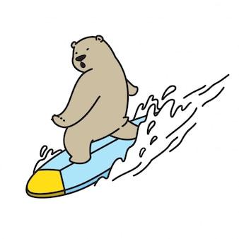 Urso dos desenhos animados de surf